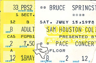 Bruce Springsteen ticket 1978 - SAM HOUSTON COLISEUM, HOUSTON, TX