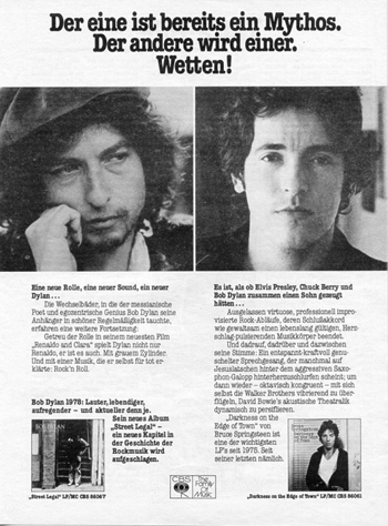Dylan/Springsteen (shared) CBS Promo Ad (West Germany)