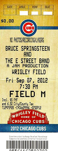 Field GA ticket, Wrigley Field, Chicago, 9-7-2012, Grenier's 200th show.