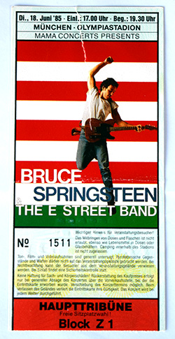 Ticket, Munich, Germany, June 18, 1985.