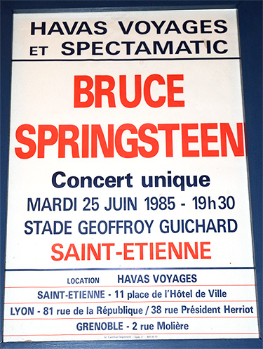 French poster for Born in the USA show, St. Etienne, France, June 25, 1985