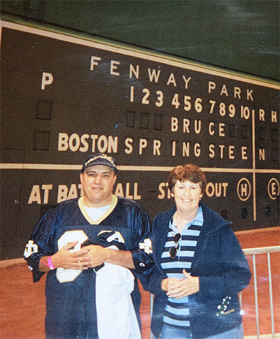 Mike and Eileen Grenier - Green Monster, Fenway Park, Boston, Sept. 7, 2003