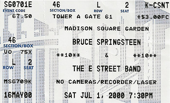 Ticket stub, July 1, 2000, MSG, NYC. End of the Reunion Tour.