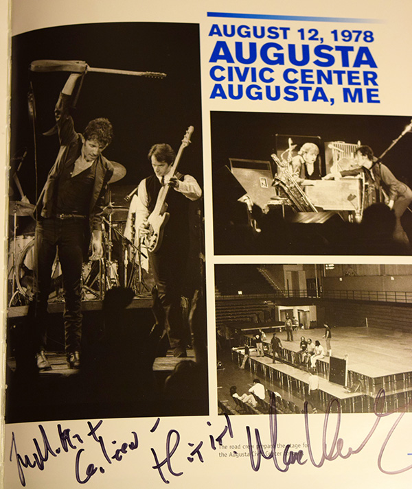 August 12, 1978 Augusta, Maine Photo Collage. Max Weinberg autograph at the bottom.