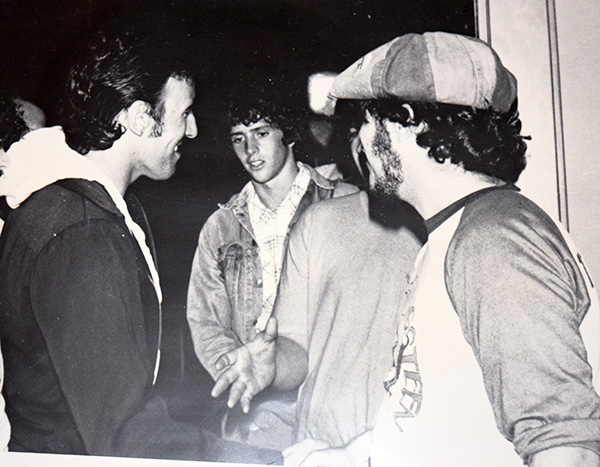 Bruce greets fans Augusta, Maine Darkness Tour. Grenier is on the right(w/hat)